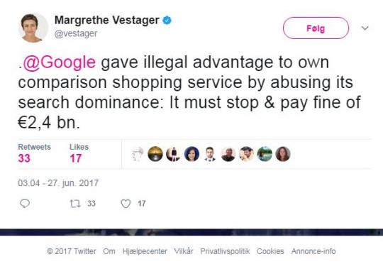 Image result for margrethe vestager tweet on google